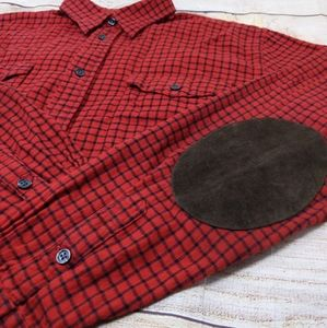 Ralph Lauren Red Flannel Button Up Suede Elbows 14
